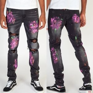Other - Men's Neon Paint Splatter Distressed Gray Jeans